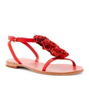Kate Spade Caryl Rosette T-strap Flat Sandal